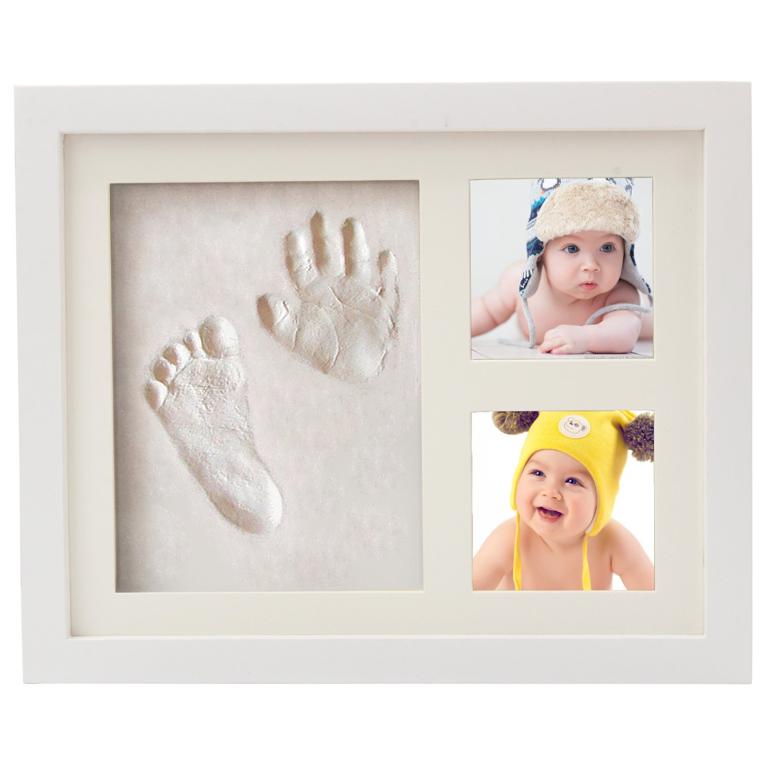 Discoball Baby Handprint and Footprint Picture Frame Baby Hand and Footprint Kits Twins Photo Frame Wood Frame with Safe Clay / Black Ink Pad / Print Paper for Family Keepsake Shower Preserves Priceless Memories Best Gift For Baby Registry