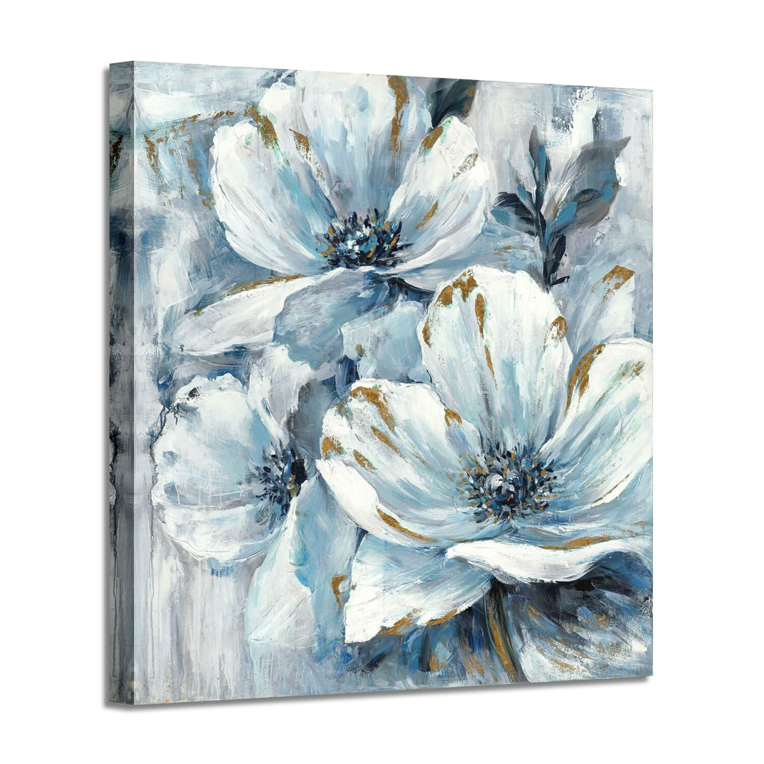 "Abstract Flower Wall Art Picture: White & Blue Lily Painting Hand Painted Artwork on Canvas for Office (24""W x 24""H,Multi-Sized)"