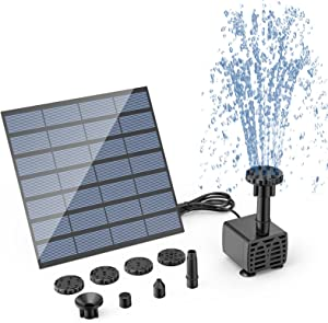 AISITIN DIY Solar Water Pump Kit, Solar Powered Water Fountain Pump with 6 Nozzles, DIY Water Feature Outdoor Fountain for Bird Bath, Ponds, Garden And Fish Tank