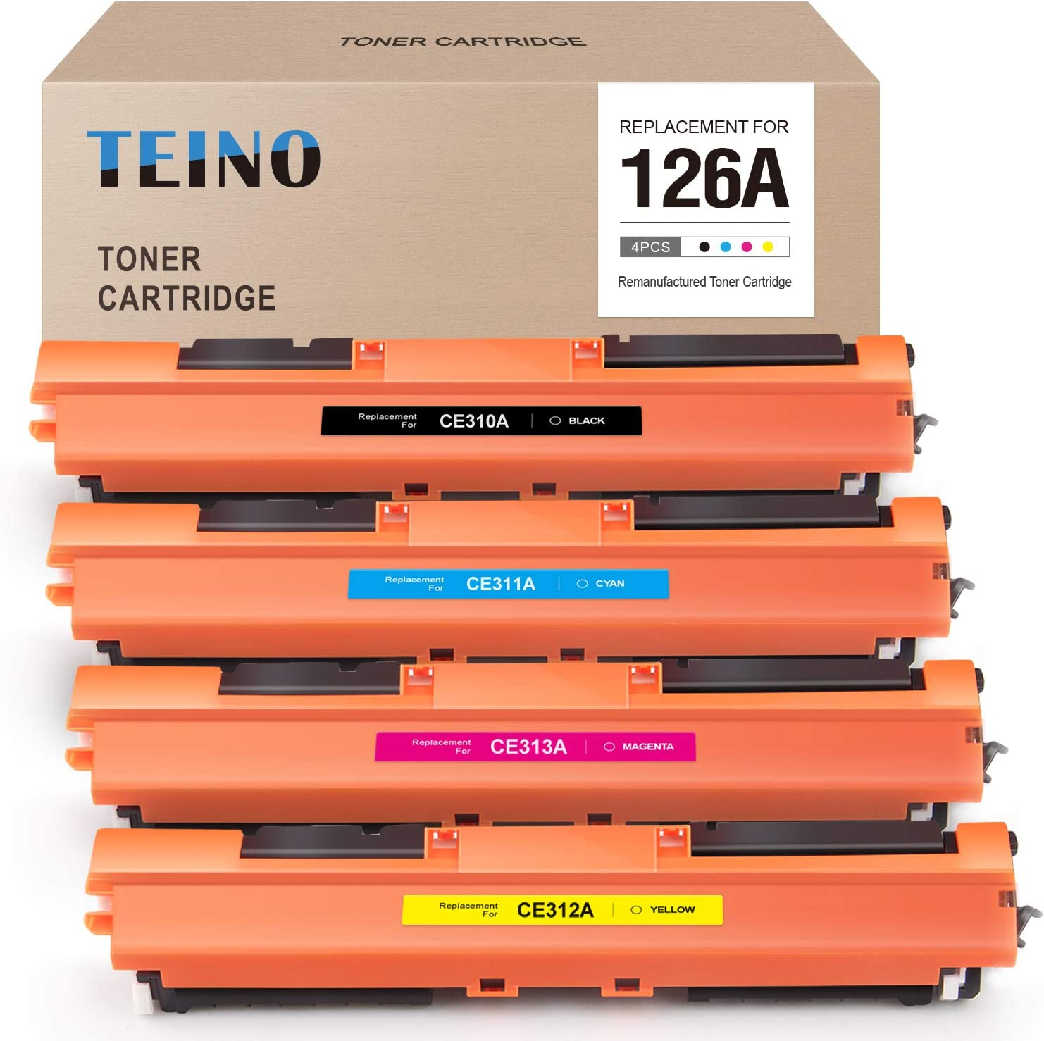 TEINO Compatible Toner Cartridge Replacement for HP 126A CE310A CE311A CE312A CE313A for Color Laserjet Pro MFP M175nw CP1025nw M275 M275NW (Black, Cyan, Magenta, Yellow, 4 Pack)