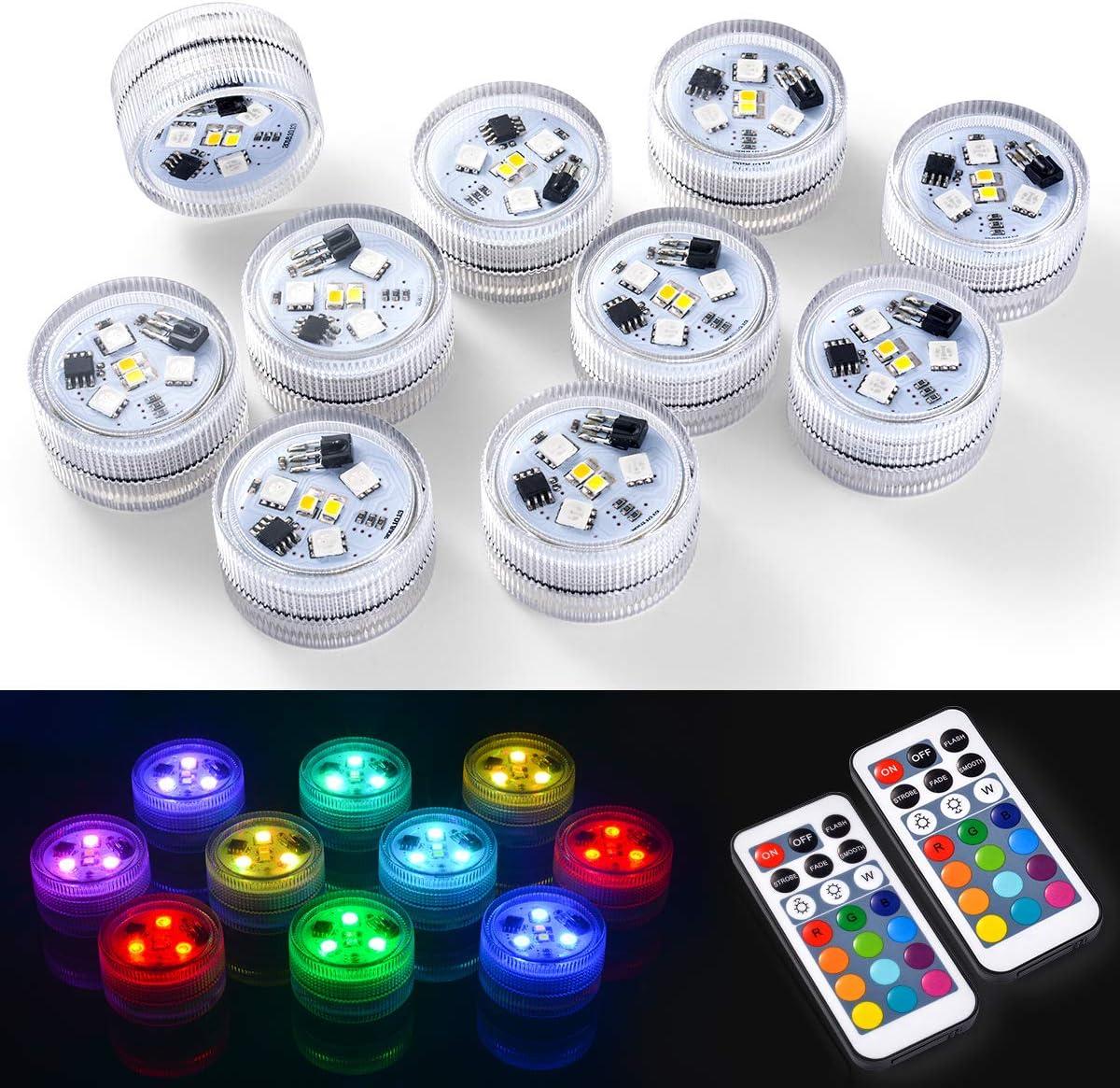 10x Luces LED Sumergible, Multicolor Impermeable Luz acuáticas Subacuáticas