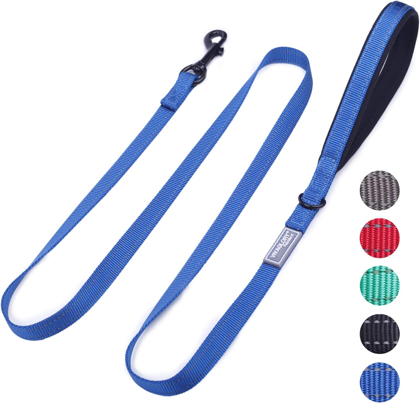 VIVAGLORY Dog Training Lead with Padded Handle Blue Heavy Duty 6ft Long Reflective Nylon Walking Leash for Medium to Large Dogs