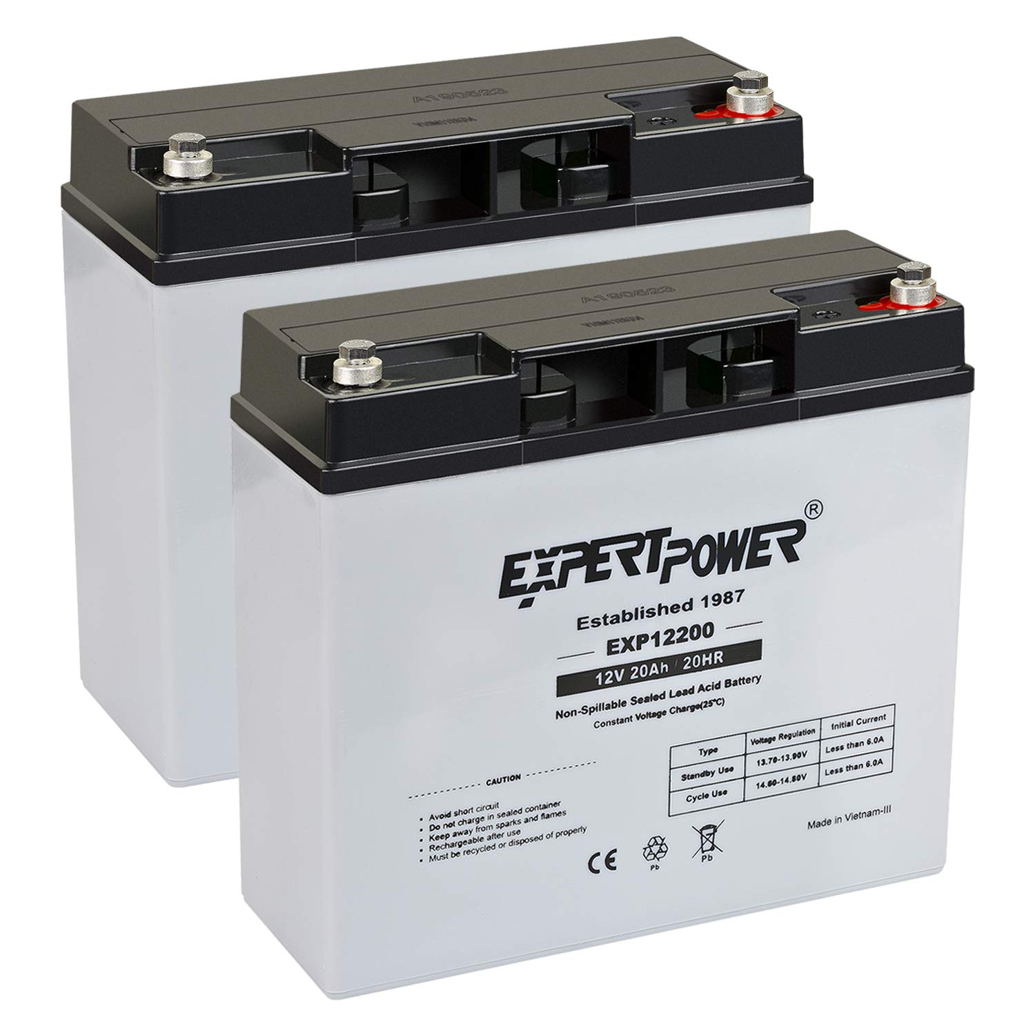 (2 Pack) ExpertPower 12 Volt 20 Ah Rechargeable Battery with Threaded Terminals [EXP12200] Height 6.57 In (From Center of Terminal) by ExpertPower