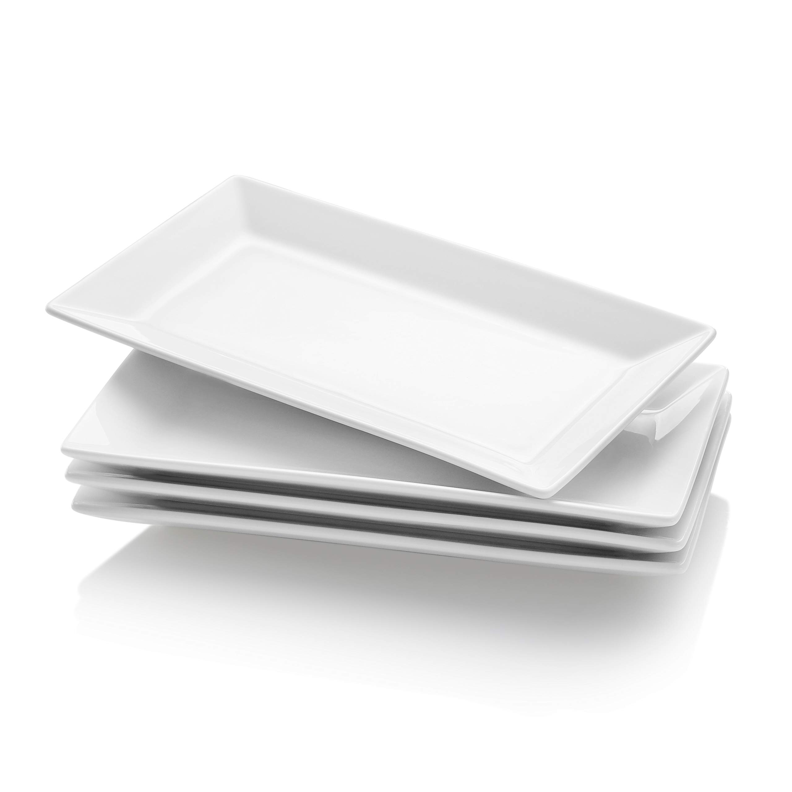 Krockery Porcelain Serving Plates/Rectangular Trays for Parties - 9.8 Inch, White, Set of 4