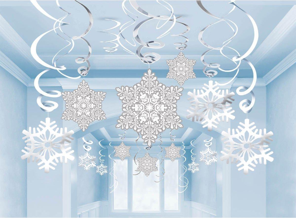 Moon Boat 36Ct Christmas Snowflake Hanging Swirl Decorations - Winter Wonderland/Xmas/Holiday Party Supplies