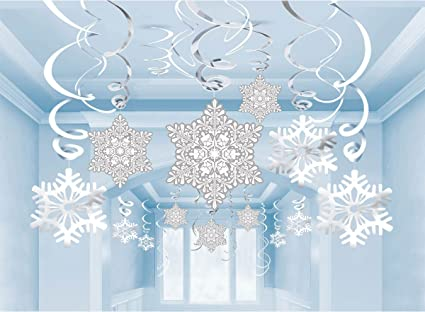 Amazon.com: 36Ct Christmas Snowflake Hanging Swirl Decorations ...