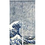 "NeoConcept Japanese Noren Ukiyoe The Great Wave off Kanagawa Door Way Curtain 59""x33.45"""