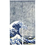 "NeoConcept Japanese Noren Ukiyoe The Great Wave off Kanagawa Door Way Curtain 59""x33.45"""