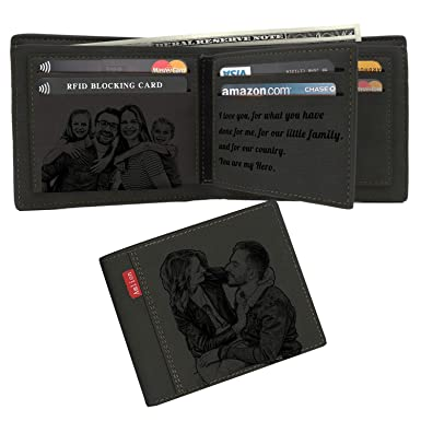 2731152c962 Custom Engraved Wallet,Personalized Photo Monogram RFID Wallets for  Men,Husband,Dad,Son,Personalized Gifts