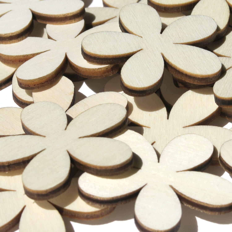 Compensato B/ütic GmbH Decorazione in legno a forma di fiori Plumeria 10 pezzi 1-10 cm Blumen 1cm