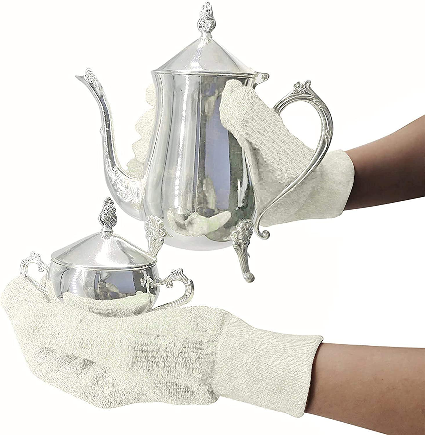 EvridWear Sterling Silver Polishing Cleaning Gloves with Terry Loop Cloth