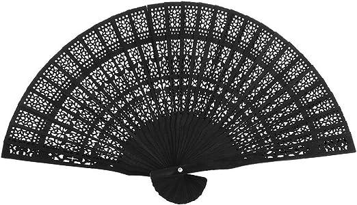 "8/"" Black Chinese Folding Wood Panel Hand Fan w// White Organza Bag for Weddings"