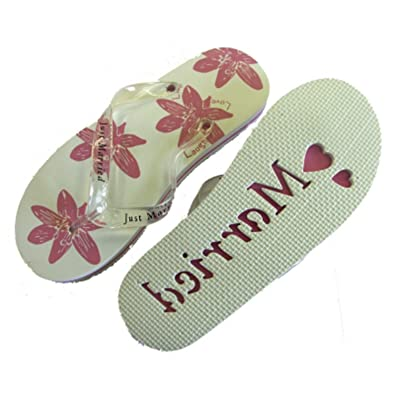 13f529320 Ladies Just Married Flip Flops - White and Pink - Medium - Size 3-5   Amazon.co.uk  Shoes   Bags