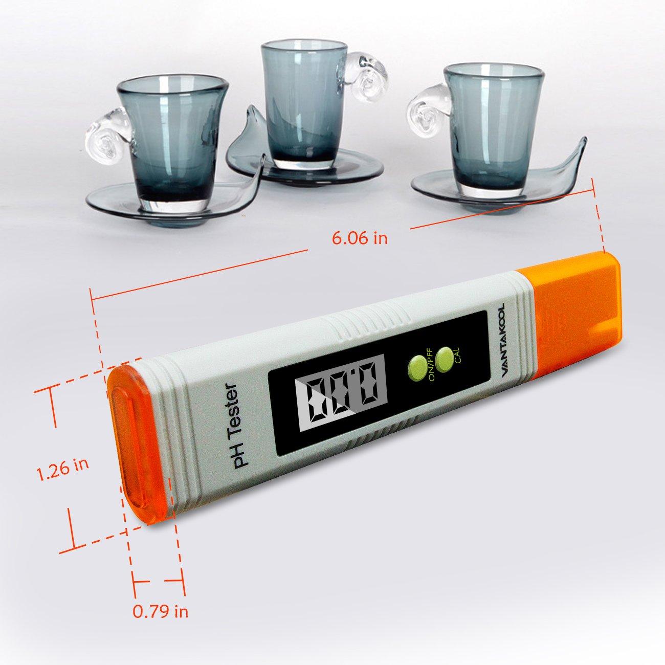 VANTAKOOL Digital PH Meter, 0.01 PH High Accuracy Pocket Size PH Meter/PH Tester with 0-14.0 Measuring Range, Water Quality Tester for Household Drinking Water, Swimming Pools, Aquariums (Orange) by VantaKool (Image #6)