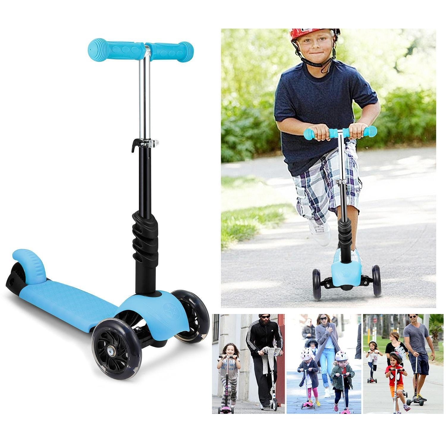 Child 3-in-1 Kick Scooter, 3-Wheel Toddler Scooter with Removable Seat Adjustable Handlebar LED Flashing Wheels �_�3-10 Years Old�_� (US STOCK)
