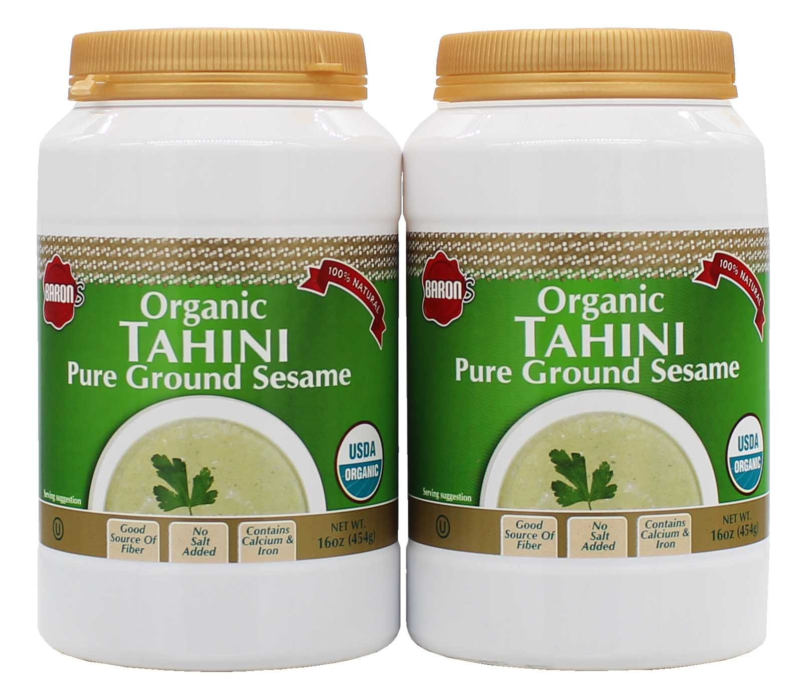 Baron's USDA Organic Tahini - Pure Ground Sesame Kosher 16-ounce Jars (Pack of 2) by Baron's (Image #1)