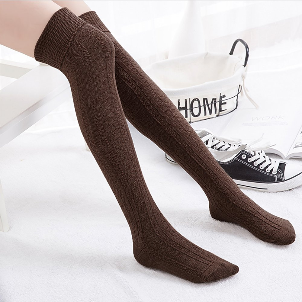 Hippih Womens Spring Over Knee Leg Warmer Crochet Thigh High Boot Socks Girls Leggings(Coffee)