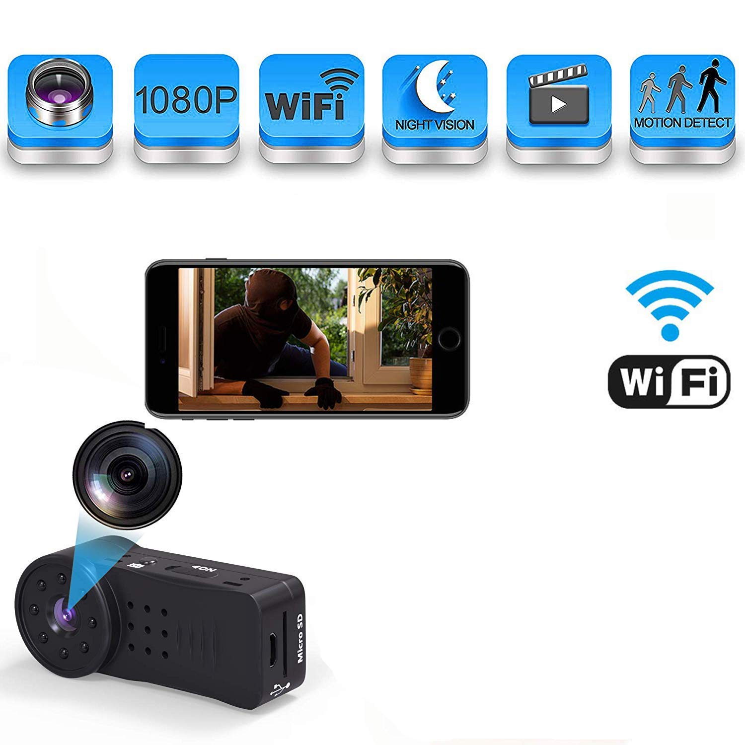 Spy Camera, Hidden Camera, WiFi Full HD 1080P Body Camera with Night Vision and Motion Detection, Best Wireless Hidden Camera for Home and Outdoor