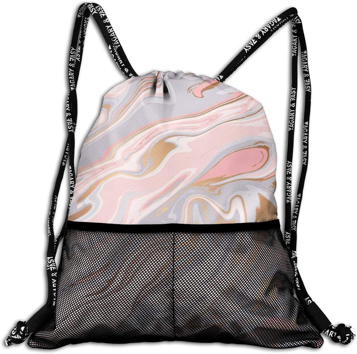 Yackpa Marble Texture Design Colorful Customized Drawstring Backpack Front Zipper Mesh Bag Unisex For Travel Fitness