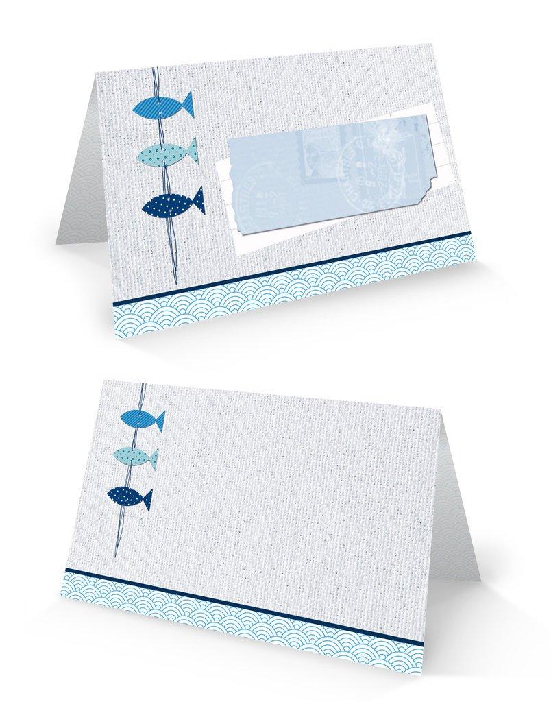 50beschreibbare Cartes de Table 3Poissons bleus-8,5x 5,5cm (plié) de décoration de table pour baptême, communion, confirmation, mariage, etc. de Sa Propre production. Jeanette Dietl
