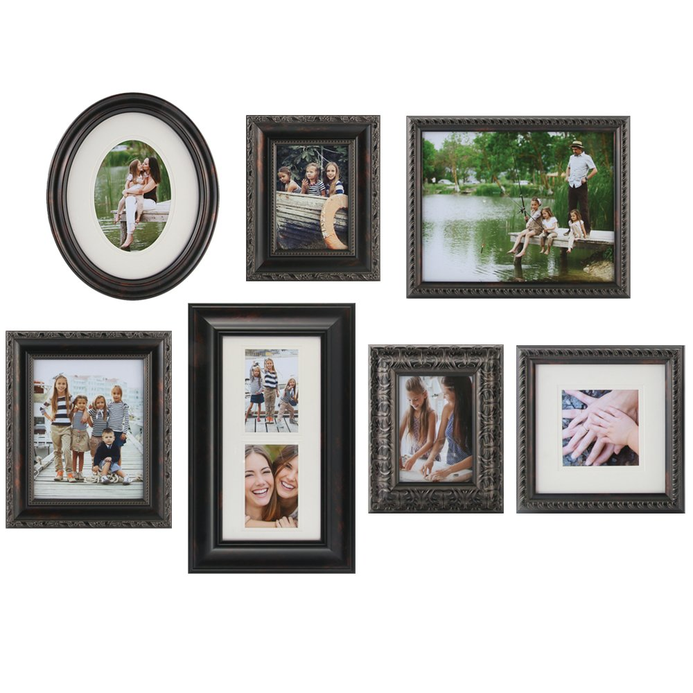 Amazon.com: Gallery Perfect 7 Piece Bronze Photo Frame Wall Gallery ...