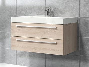 Badezimmer Badmöbel Rome 80 Cm Eiche Hell Unterschrank Schrank