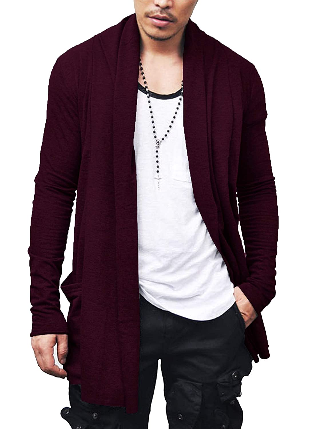 JINIDU Men's Ruffle Shawl Collar Cardigan Premium Cotton Blend Long Length Drape Cape Overcoat 112106294