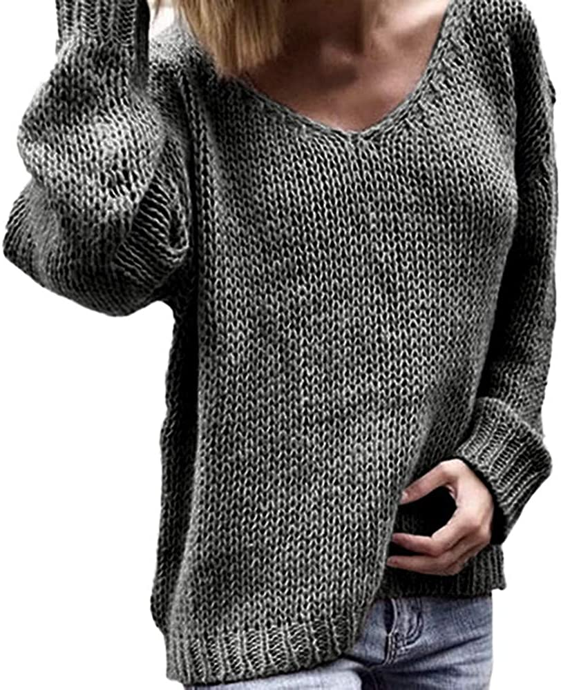 Wolfleague Pull Femme Chaud Tunique Tricot/é L/âChe Pullover Manches Longues Tops Col V Pull Couleur Unie Pullover Chic Tops Mode Sweater S~XXXL