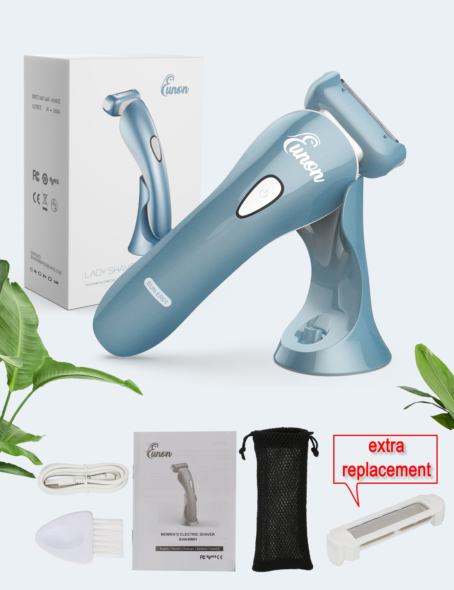 Electric Razor for Women - Eunon Womens Shaver Bikini Trimmer Body Hair Removal for legs and Underarms Rechargeable Wet and Dry Painless Cordless with LED Light