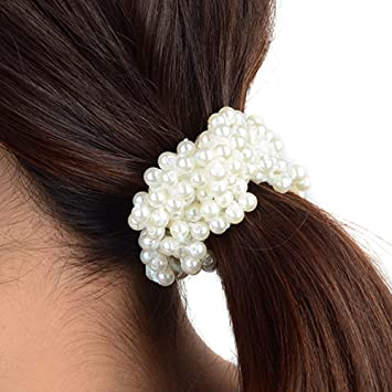Amazon.com   Polytree Women s Girls Fashion Pearl Hair Band Ponytail ... 6cb735070f1