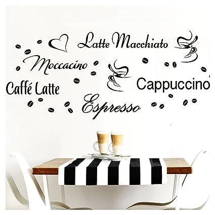 Grandora Wandtattoo Kaffeesorten I schwarz Kreativset I Kaffee Kaffeebohnen  Kaffeetasse Küche Esszimmer Aufkleber Wandaufkleber Wandsticker Sticker ...