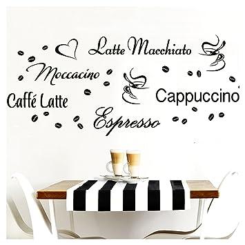 Grandora W3047 Wandtattoo Kaffeesorten I mittelgrau Kreativset I Kaffee  Kaffeebohnen Kaffeetasse Küche Esszimmer Aufkleber Wandaufkleber Wandsticker