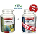 Simply Supplements Kelp 1000mg 120 Capsules + FREE GIFT Zinc 60 Tablets