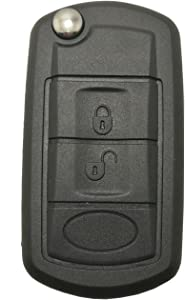 J-ACCES Key Fob Case Shell Fit for Land Rover LR3 Discovery Range Rover Sport Flip Keyless Entry Remote Car Key Fob Cover Replacement Key Casing