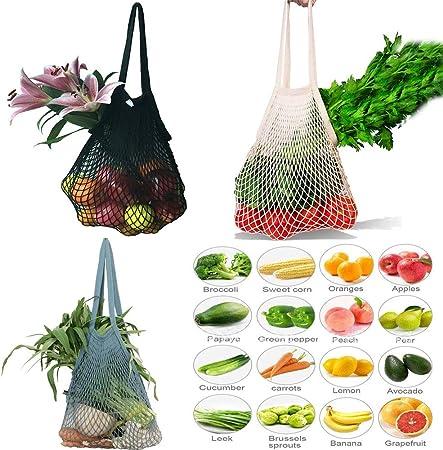3 bolsas de malla reutilizables, bolsa para la compra, de playa, algodón, bolsa con asa: Amazon.es: Hogar