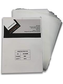 100er Pack Laminierfolien 54 x 86 mm Visitenkarten Kreditkarten glossy Laminiertaschen gl/änzend Laminierfolie Folienst/ärke 125 Mic