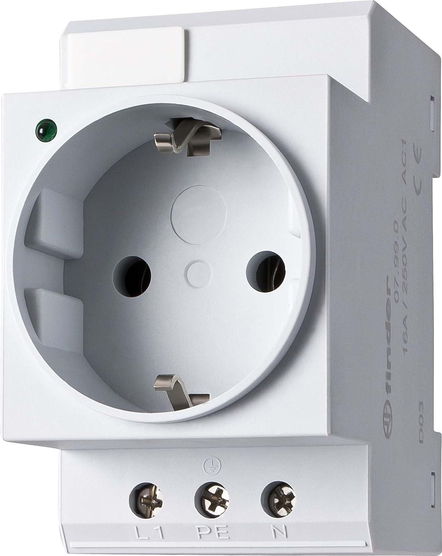 Finder–Enchufe Schuko con LED para Carril 16A, 250V CA, 1Pieza, 07.99.00