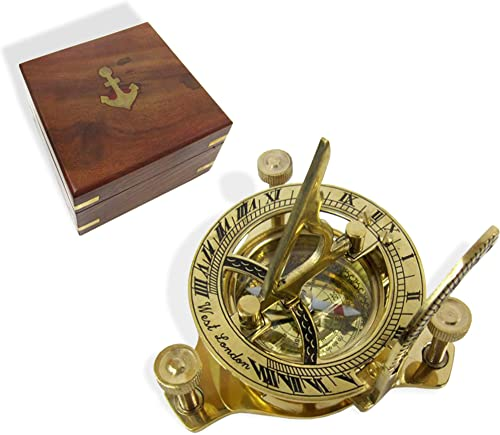 RedSkyTrader Sundial Compass Solid Brass Sun Dial with Wooden Box
