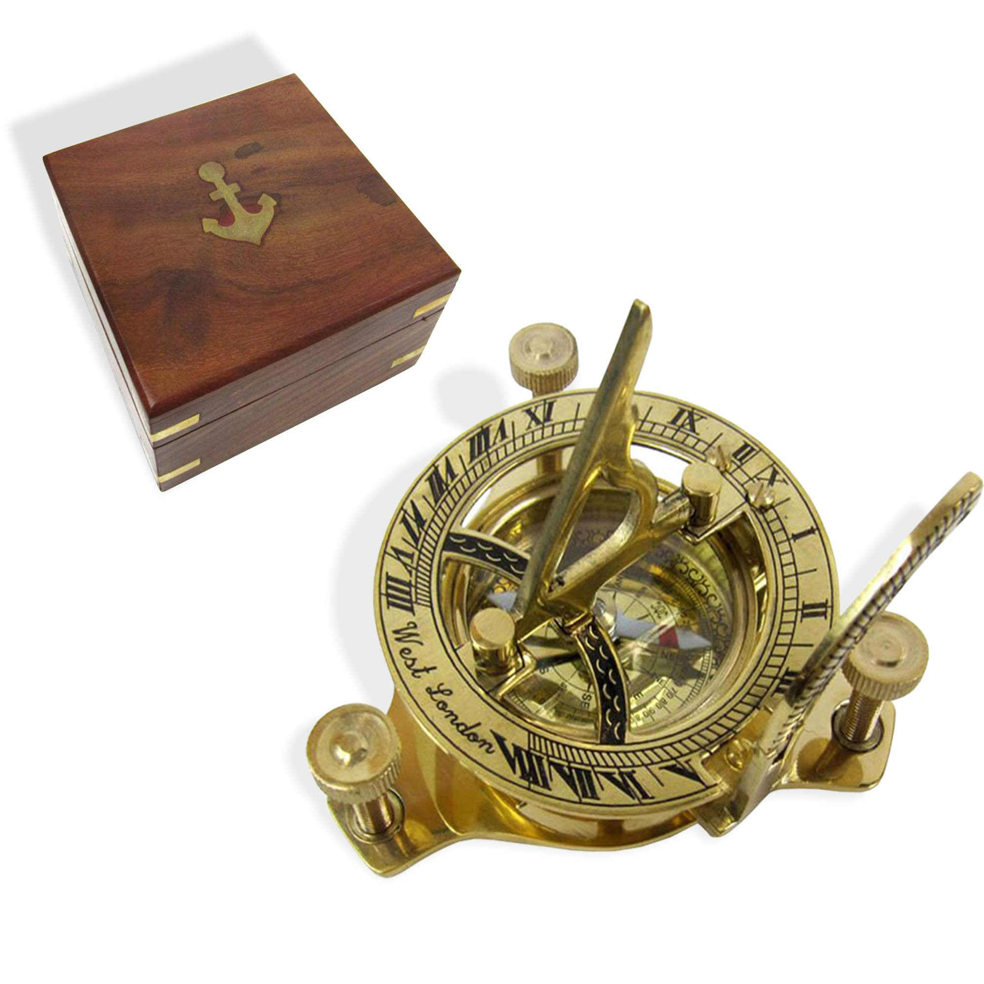 RedSkyTrader Sundial Compass Solid Brass Sun Dial (with Wooden Box)