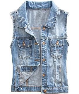 bc3c1153902166 Cheerlife Mädchen Damen Jeansweste Gewaschener Denim Weste Ärmellose  Jeansjacke Beiläufige Outwear Coat kurz