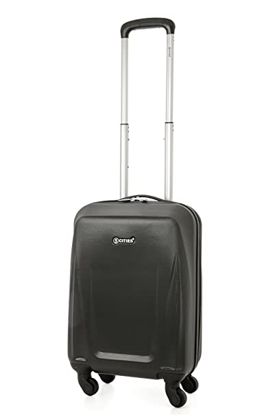 7a8af0f21770 5 Cities Lightweight Abs Hard Shell Cabin Suitcase Approve for Ryanair  Easyjet British Airways and More ABS125 Black 21 Hand Luggage, 55 cm, 32.0  L, ...