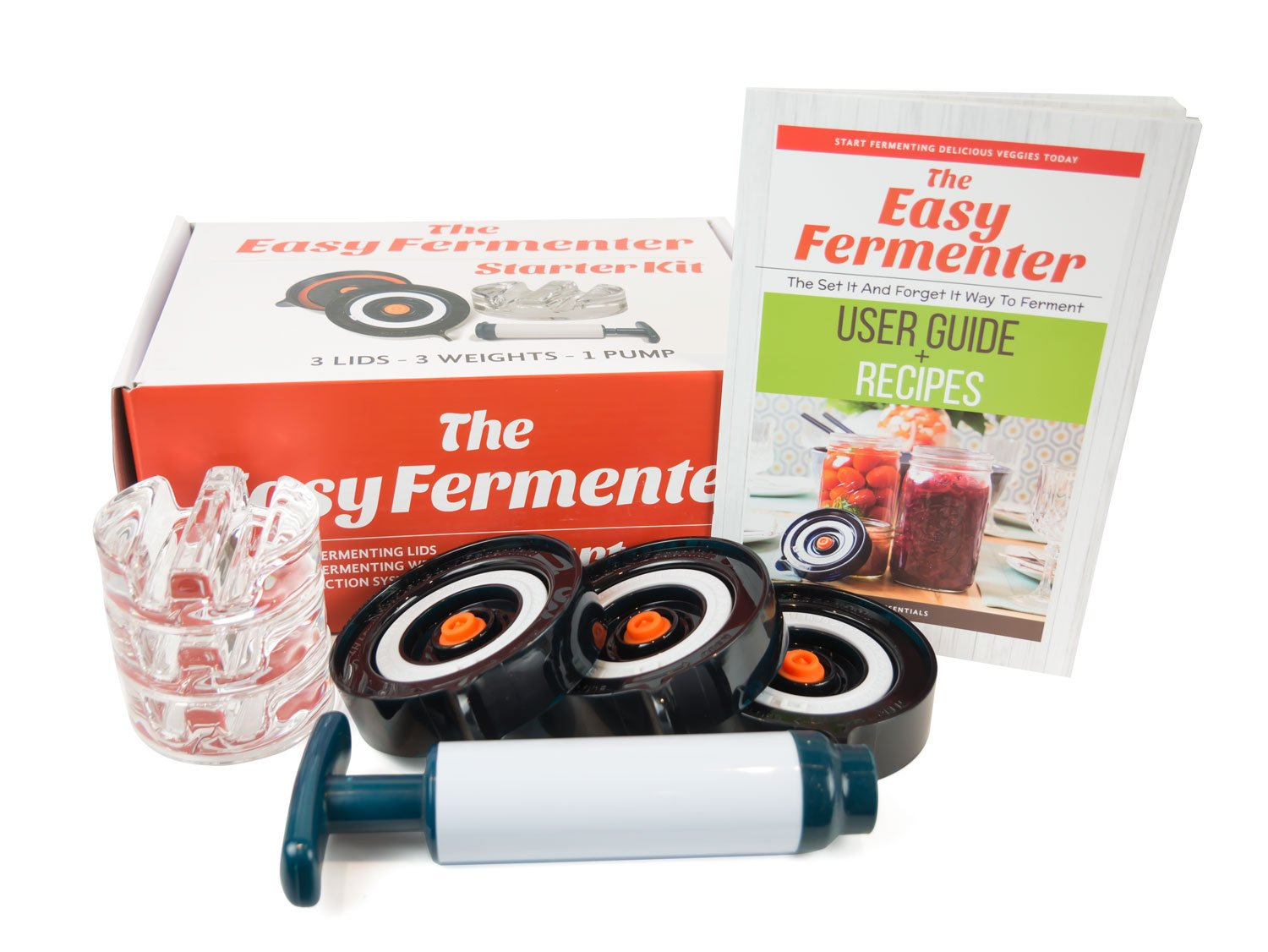 Easy Fermenter Wide Mouth Lid Kit: Simplified Fermenting In Jars Not Crock Pots! Make Sauerkraut, Kimchi, Pickles Or Any Fermented Probiotic Foods. 3 Lids, Extractor Pump & Recipe eBook - Mold Free Nourished Essentials EF-1
