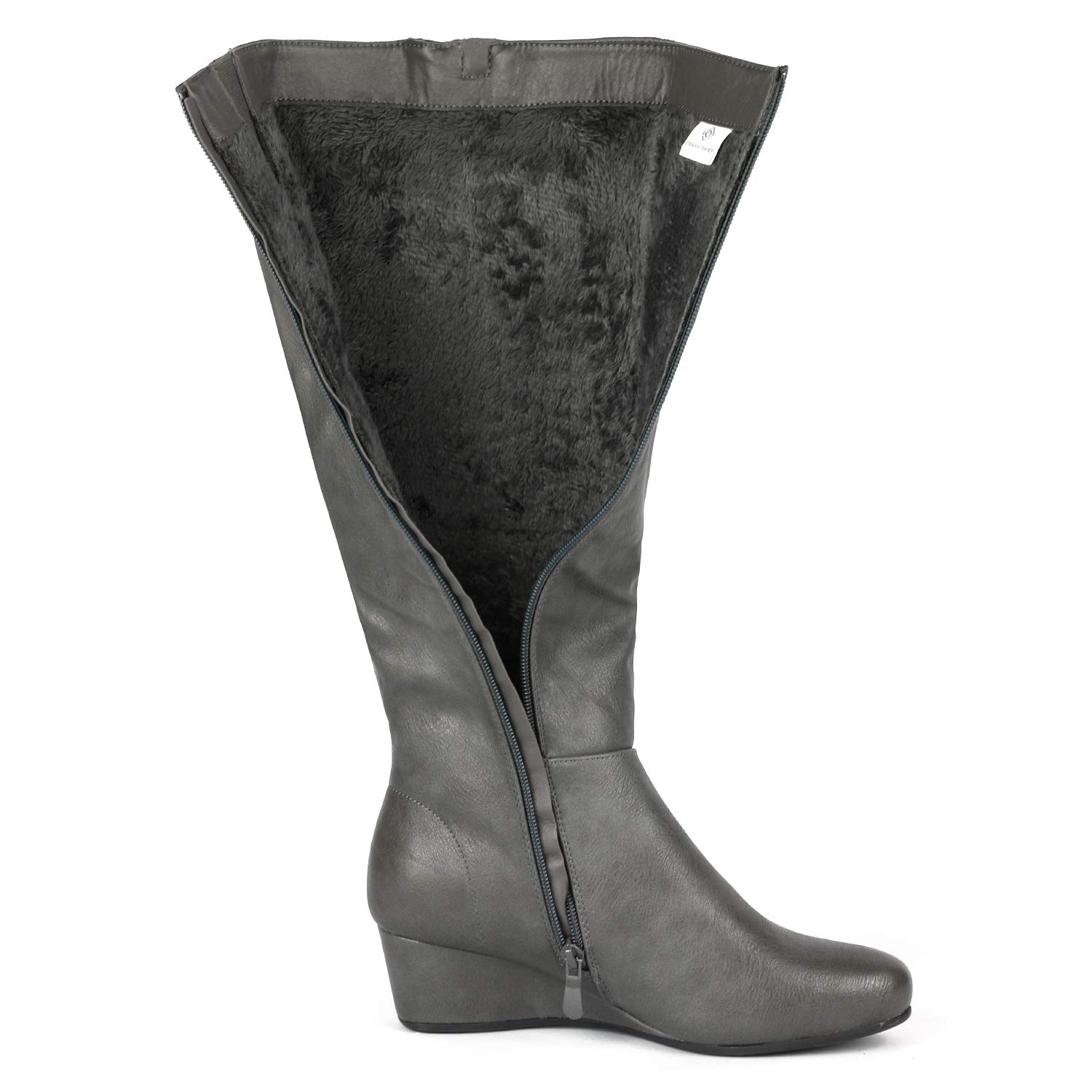 DREAM PAIRS Womens Low Wedge Knee High Winter Fashion Boots