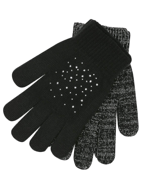 M&Co Teen Girl Black Studded Glitter Thread Magic Gloves Two Pack