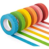 Colored Masking Tape, 6 Rolls of 21.87 Yards×0.59 Inch Crafts Labeling Paper Tape, Colorful Marking Painters Tape for…