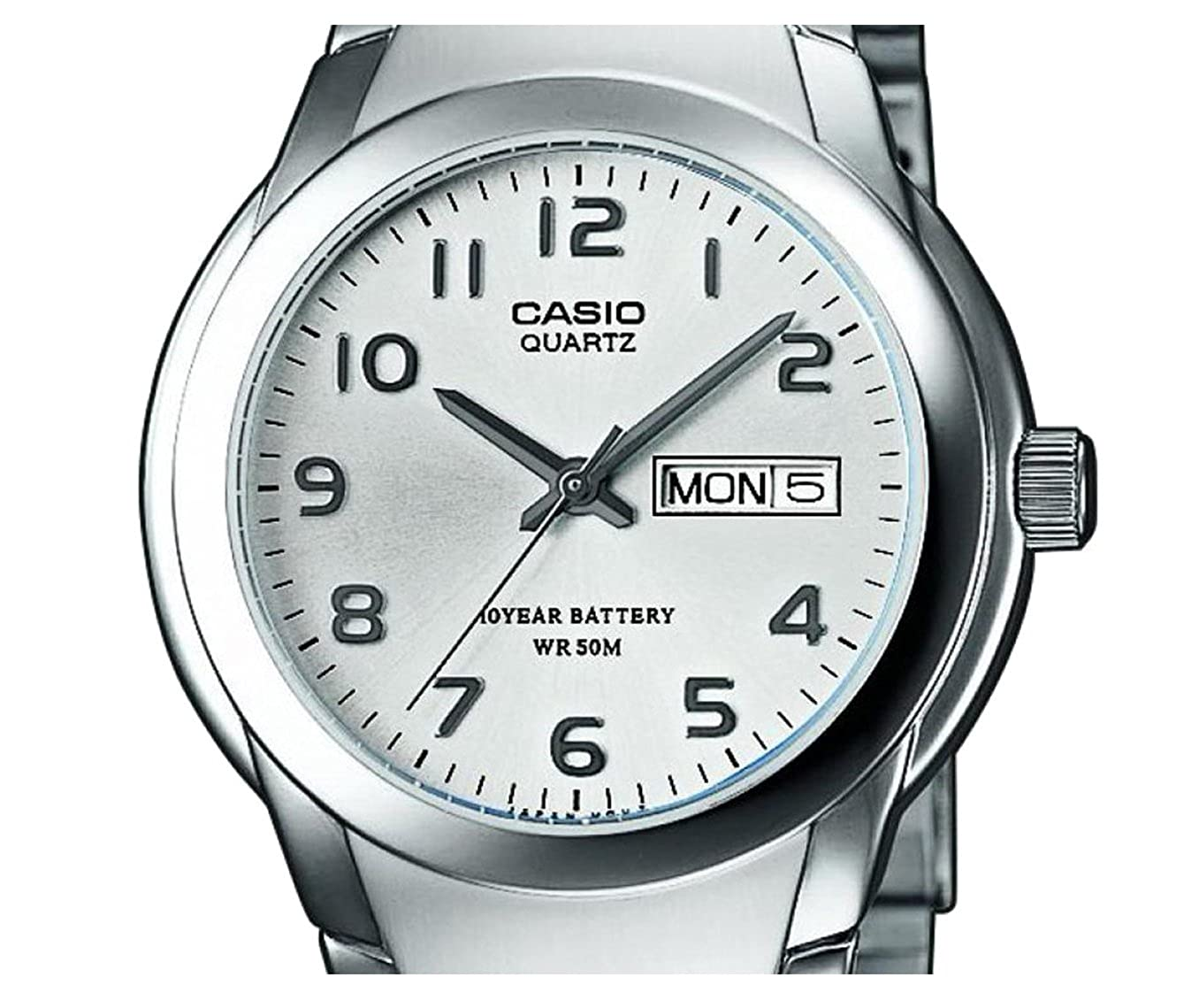 Amazon.com: Casio MTP-1229D-7AVEF Gents Watch Quartz Analogue White Dial Silver Steel Strap: Watches