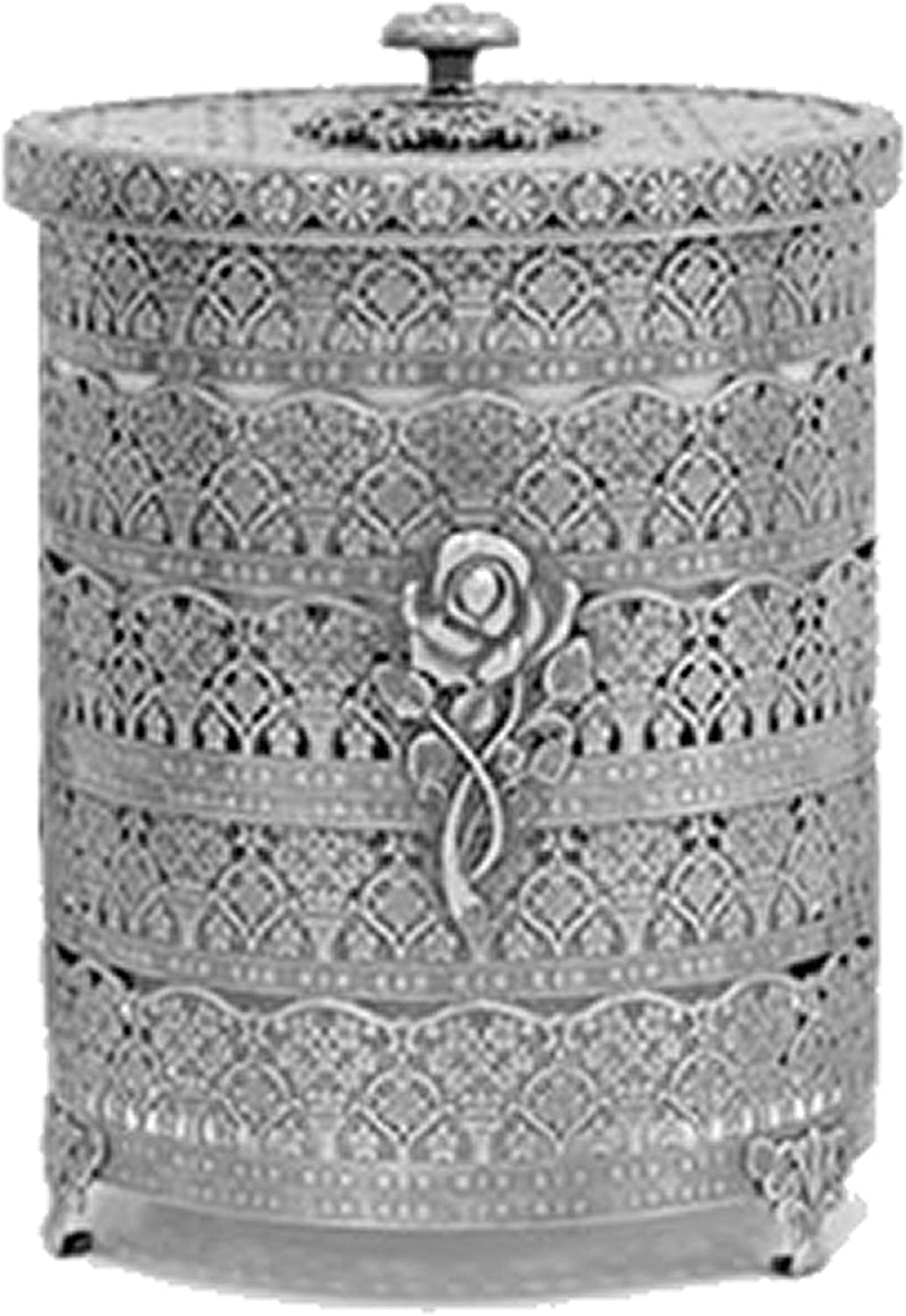 SEHAMANO Rose Patterned Antique Wastebasket, Vintage Decorative Small Trash Can, Garbage Container Bin for Vanity, Bedroom, Kitchen, Powder Rooms, Home Office Rubbish Bin (Small, Tin (Gray))
