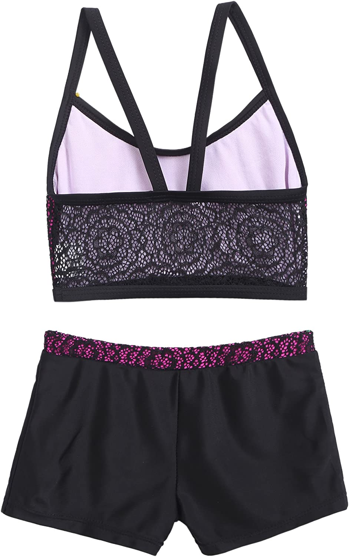 Arshiner Girls Bikini Two Piece Swimsuit with Lace Swimwear 150 Black