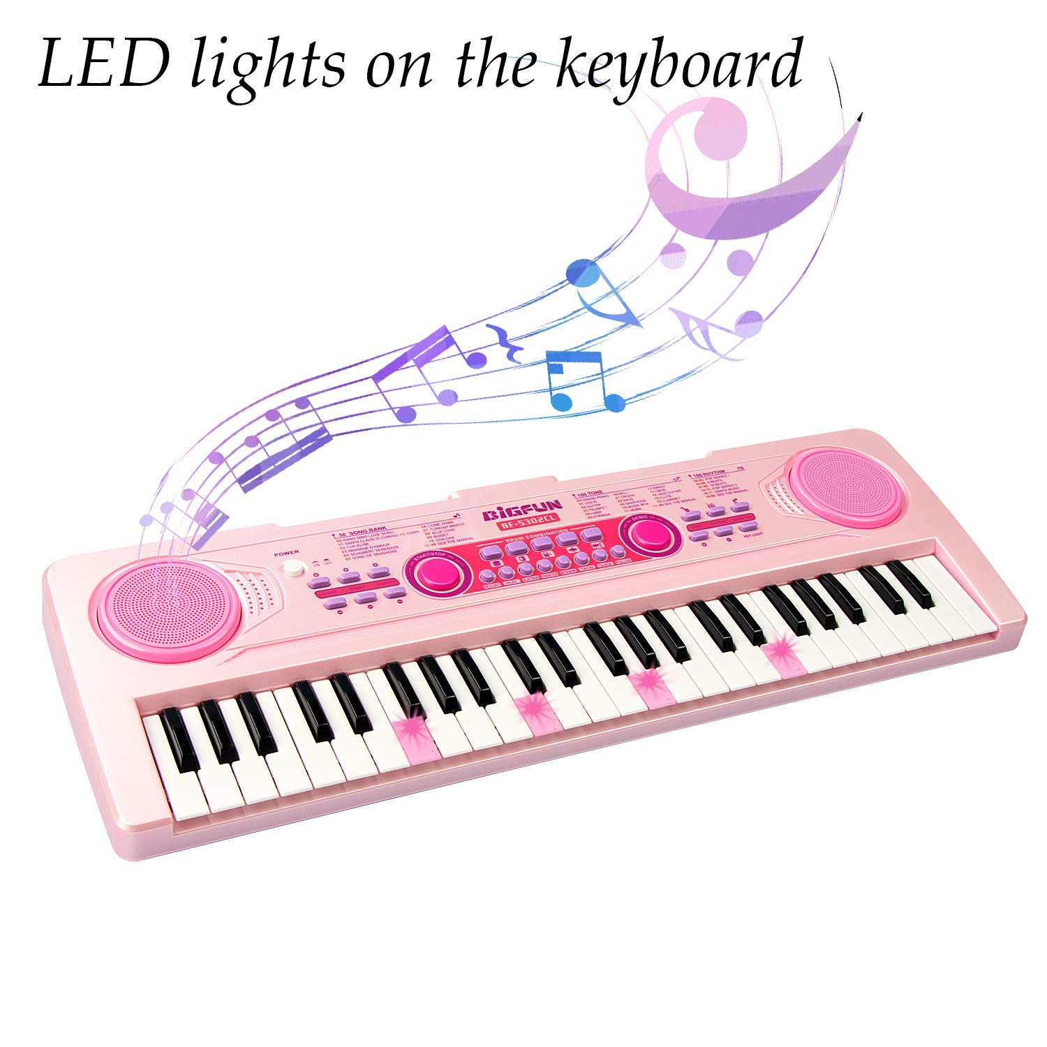 SAOCOOL Piano Keyboard, 49 Keys Multi-Function Charging Electronic Kids Piano Keyboard Music Educational Toy for Children Over 3 Years Old (Pink) by SAOCOOL (Image #5)