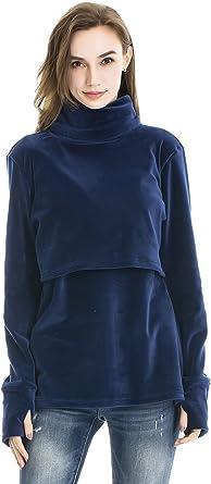 Bearsland Women's Nursing High Collar Long Sleeve Maternity Sweater Breastfeeding Shirt